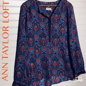 Colorful Demask Half Button Down Tunic Flowy Fit